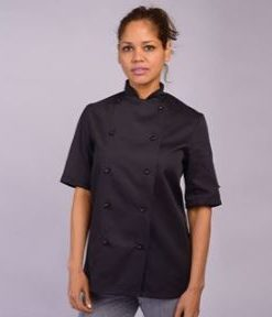 Black Short Sleeve Chefs Jacket