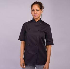 Black Short Sleeve Chefs Jacket
