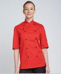 Red Short Sleeve Chefs Jacket