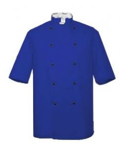 Royal Blue Short Sleeve Chefs Jacket