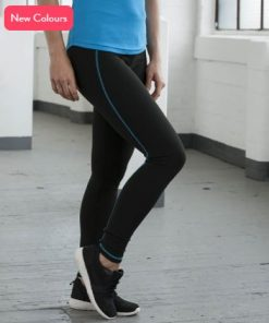 Womens Black & Blue Running Leggings