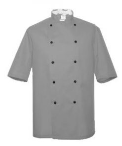 Light Grey Short Sleeve Chefs Jacket